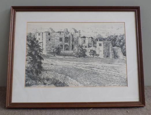 Pen & ink drawing of Barden Tower, Upper Wharfdale, by Mark Thompson, 1982