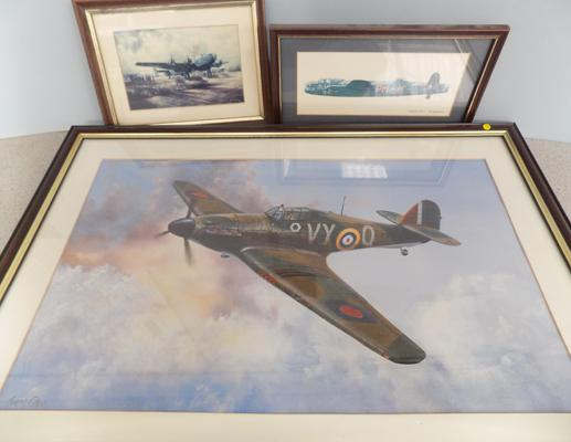 "Framed picture of Spitfire by Thomas Gower 25 1/2"" x 18"" and 2 small plane pictures"