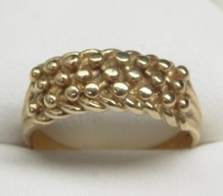 9ct gold 3 row keeper ring size Y