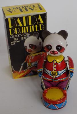 Boxed vintage tinplate clockwork Panda drummer and key