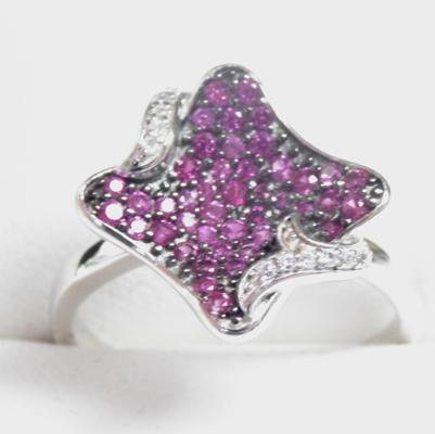 925 silver pink and white topaz dress ring size P1/2