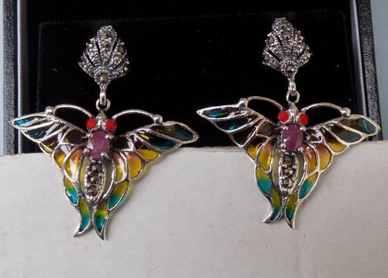 Pair of silver & ruby butterfly earrings
