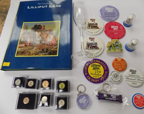 Selection of Lilliput Lane - badges, thimbles, fridge magnet, key ring, glass and book
