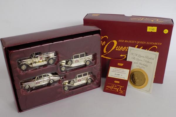 Limited edition 4 car set, silver plated with coin and certificate