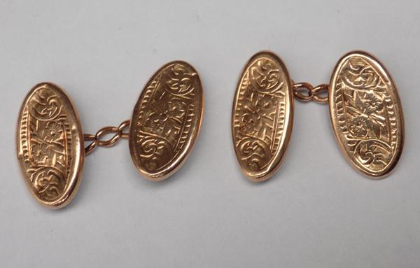 Pair of antique 9ct gold cufflinks, Birmingham, circa 1901, approx. 2.6grams