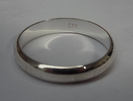 Large size 925 silver band ring