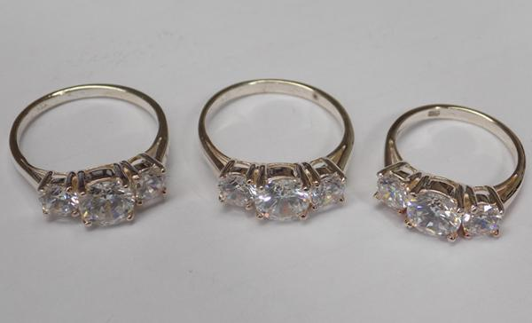 Three 925 silver clear stone trilogy rings