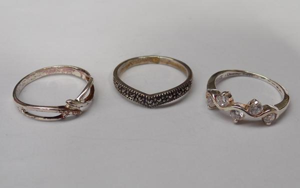 Three ladies 925 silver rings