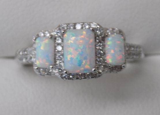 Silver, three opal set ring
