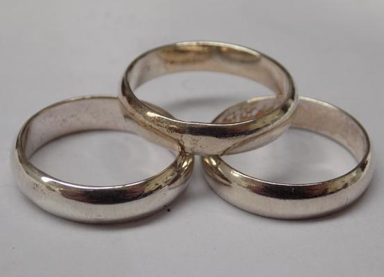 Three 925 silver band rings