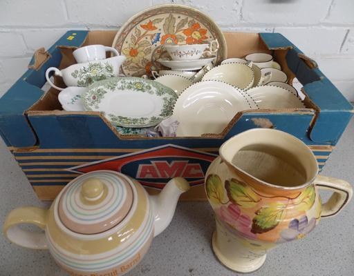 Box of ceramics incl. Wedgwood, A.Wood, Meakin and 6 Place soup sets