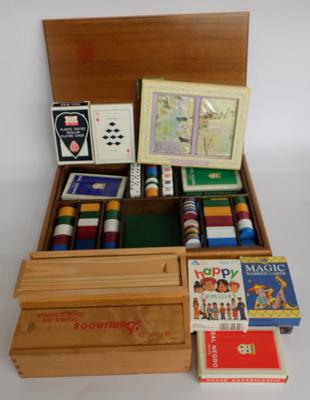 Vintage inlaid wooden games box, complete with cards, dominoes etc.