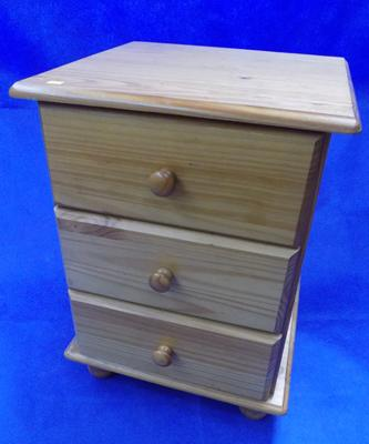 Pine 3 door bedside drawers