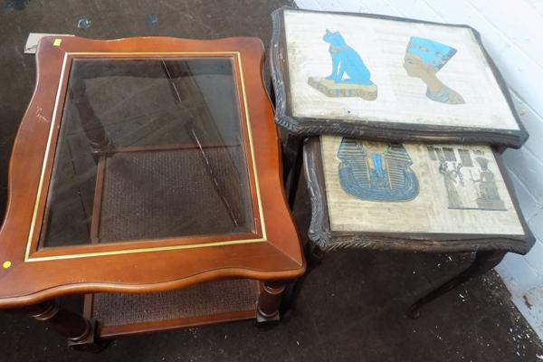 Small glass top table and nest of 2 tables