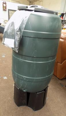 Approx 65 gallon water butt & stand-never used