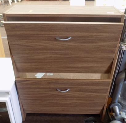 Walnut effect shoe storage cabinet