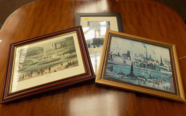 Selection of vintage Lowry prints inc Piccadilly gardens