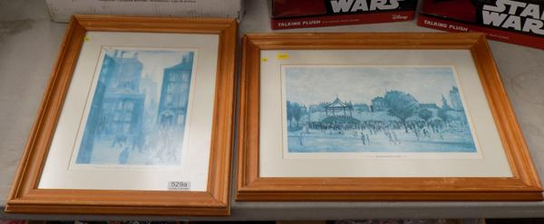 2x Vintage rare blue Lowry prints inc The Lodging house