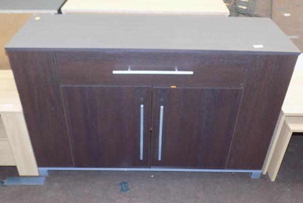 Walnut effect sideboard with side shelves