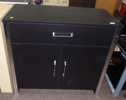 2 door 1 drawer black sideboard