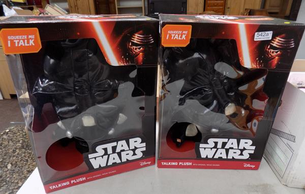 "2x Darth Vader 15"" talking plush in boxes"