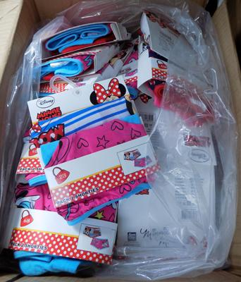 Large box of new (pack of 2 girls pants) Minnie Mouse-approx 18 packs