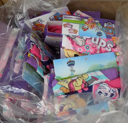 Large box of new (packs of 2 girls pants) Paw Patrol-approx 18 packs