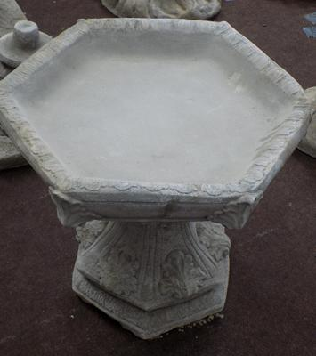Gothic bird bath with hexagonal top