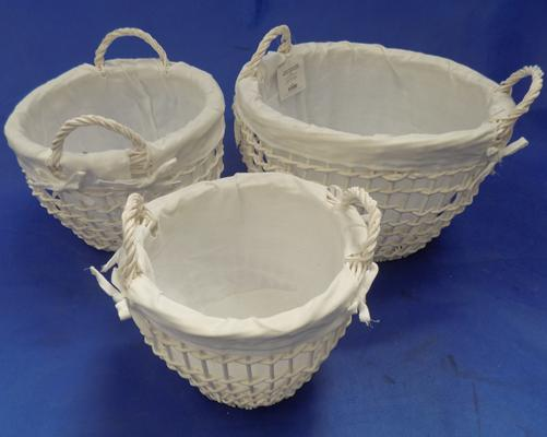 Set of 3 white open weave baskets (new)