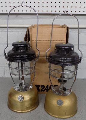 Two Tilley lamps (storm lights)