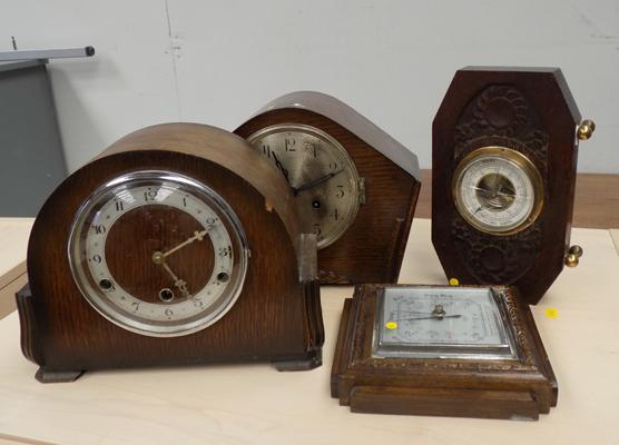 2x Vintage mantle clocks (1x w/o + 1 spares & repairs) + 2x barometers both w/o