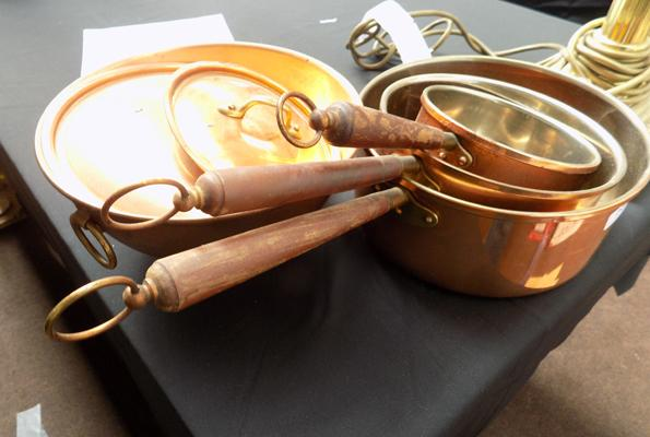 Set of copper pans & lids