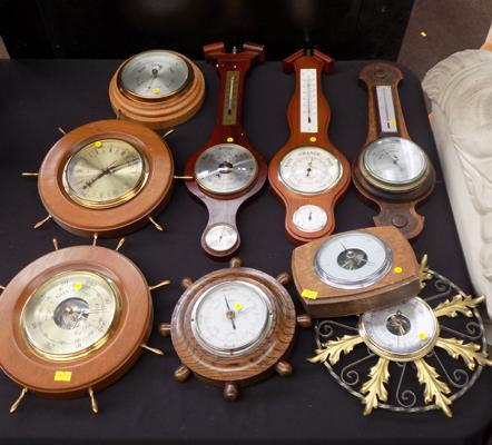 Selection of vintage barometers all w/o