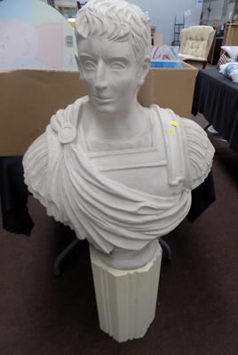 Bust of Caesar on plinth (possibly fibre glass)
