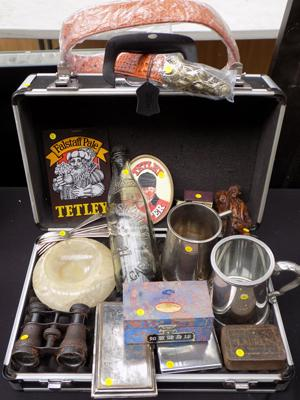 Vintage flight case with large collection of gentlemens items