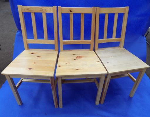 3x pine effect dining chairs