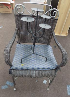 Wrought iron chair & candle stick