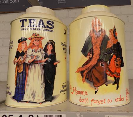 2 tea advertising storage tins