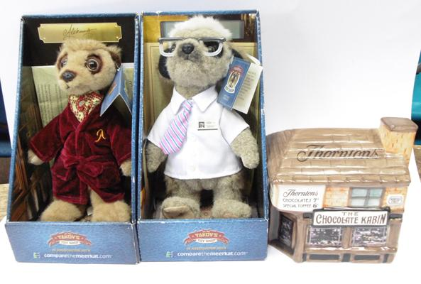 Two collectable Meercats - Alexander & Sergei + a Limited Edition Thornton's Kabin money box