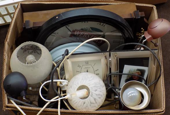 Box of clocks & lamps