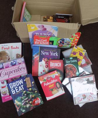 Box of mainly cookery books + designer cards