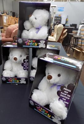 Box of four Glow teddies