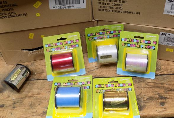 6 boxes of curling ribbon - baby blue, white, silver and gold iridescent