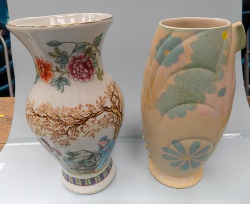 Two vases, one Jasper, one oriental