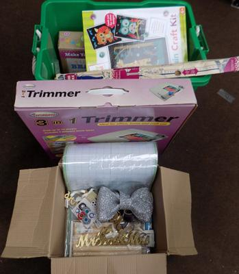 Large box of craft items incl. trimmer