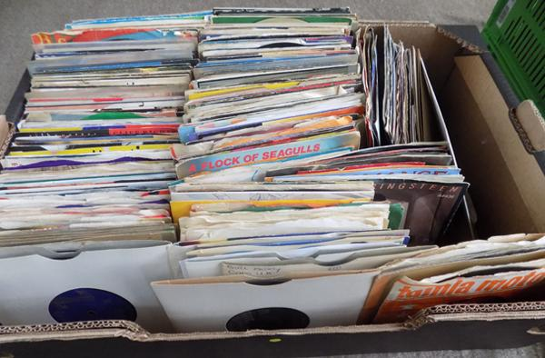 "Box of 7"" vinyl records - 1950's to 1980's"