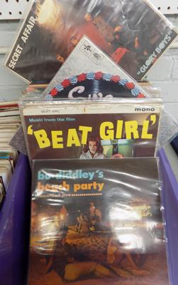 Box of records, 1960's Jazz, Rock 'n' Roll etc. incl. Bo Diddly, Georgie Fame, Beat Girl etc.