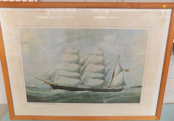 "National Martime Museum ship picture signed by artist 29"" x 21"""