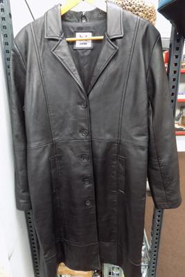 Full length leather coat, 14-16