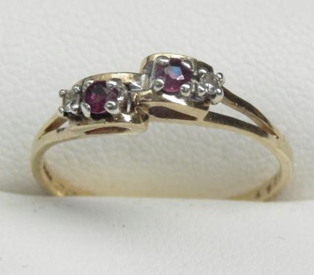 9ct gold diamond and garnet ring size O